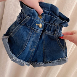 2020 Denim Kid Pants Summer Ruffle a vita alta Jean Shorts Pocket Girls Button Elastic Tassel Bambini Cowboy Pant Fashion Blue 22hh G2 in Offerta