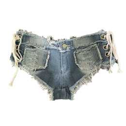 Wholesale low rise denim shorts resale online - 616 women s jeans hot pants night club low rise sexy perforated denim shorts