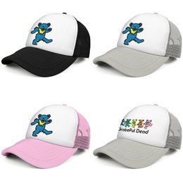 blue trucker cap NZ - Grateful dead bear blue Fashion Trucker Cap Adjustable Baseball Hat five dancing bears tropical Grateful Dead Rainbow LBTS