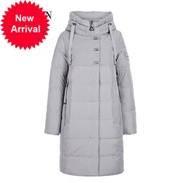 Wholesale puff coats for sale – warmest winter GASMAN Long Grey Zipper Winter Women Warm Thick Parka Down Jacket Female Hooded Womens Clothing Patchwork Coat