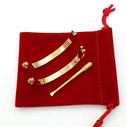 Steel Bracelet cuff bangle for women men never fade with dustbag wedding love bracelet brangle best quality women men love gifts on Sale