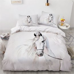 orange 3d bedding set Canada - Horse Bedding Set 3D Custom Design Animal Duvet Cover Sets White Bed Linen Pillow Cases Full King Queen Super King Twin Size Z1126
