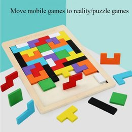 wholesale wooden adult puzzles 2021 - Puzzle Early Education Solid Wood Colored square Color Wood Educational Toys A Wooden Toys Of 3D Wooden Game For Adults Kids To