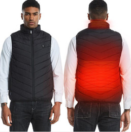 Wholesale heat vest resale online - Plus Size Men Women Winter USB Heating Vest Sleeveless Heated Jacket Cold Proof Heating Parka Thermal Constant Temperature Vest F120202