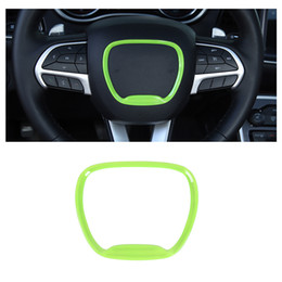 green steering wheels Australia - Green Steering Wheel Trim Ring Decal Sticker Cover For Dodge Challenger  Charger 2015 UP Auto Interior Accessories