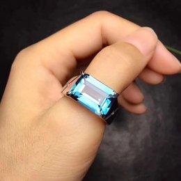 100/% naturel 10 mm Bleu Calcédoine /& suisse topaze bleue argent 925 Anneau Taille 7