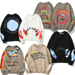 Wholesale stranger things hoodie for sale - Group buy Kanye West Smiley Lucky Me Foam Letter Flame Hoodies Men and Women Stranger Things Oversize Loose Sweatshirt Hooded Casual Hoody