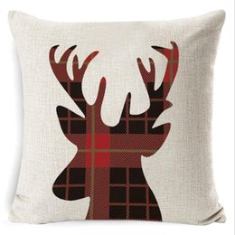 Discount decorative body pillow covers Christmas Pillow Case Plaid Linen Throw Pillow Covers Square Sofa Decorative Pillow Headrest Cushion Cover Xmas Pillowsl
