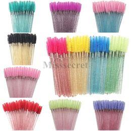 50 Pcs bag High Quality Disposable Crystal Eyelash Brush Diamond Handle Mascara Wands Eyelash Extension Tool Makeup Brushes on Sale