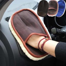 Toptan satış Araba Fırçası Temizleyici Araba Yıkama Eldiven Temizleme Fırçası Yün Yumuşak Dash Toz Temizleyici Cartruck RV Motosiklet için 15 * 24 cm GPS