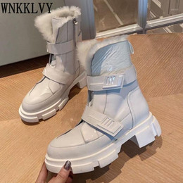 open toe platform ankle boots 2021 - Thick Sole Magic Tape Fur Snow Boots Women Real Leather Platform Ankle Botas Warm Plush Lining Winter Motorcycle Short Boots1