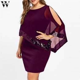 v neck cold shoulder dress UK - Womail dress Summer Women Plus Size Cold Shoulder Overlay Asymmetric Chiffon Strapless Sequins Dress S-5XL dropship M14 Y200101