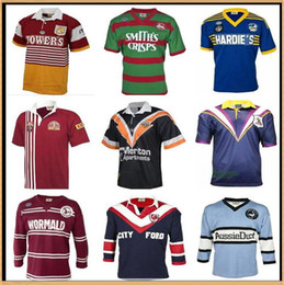 tiburones tigre al por mayor-Retro Holden Blues Parramatta Eels Sea Eagles Retro Rugby Jersey Brisbane Broncos Sur Sydney Rabbitohs Wests Tigres Maroons Malou Sharks