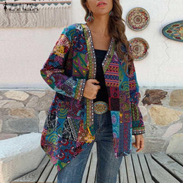 Wholesale thin vintage print jacket women resale online – Autumn Thin Coats ZANZEA Women Vintage Floral Printed Jackets Asymmetric Outwear Casual Long Sleeve Open Stitch Cardigan