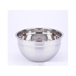 stainless steel bowls UK - Stainless Steel Mixing Bowls Steel Food Container Salad Bowl 18-30cm Size Dinnerware Silver W jllvIT jjxh