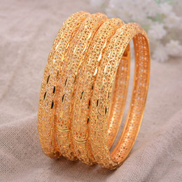 24K 4Pcs lot Dubai India Ethiopian Yellow Solid Gold Filled Lovely Bangles For Women girls party jewelry Bangles&Bracelet gifts Y1126 on Sale