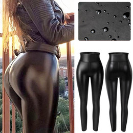 Wholesale faux leather panties resale online - High Waist Faux Leather Leggings Women Thick Non See through PU Leggings Sexy Hip Push Up Slim Pants Fitness Panties Butt Lifter