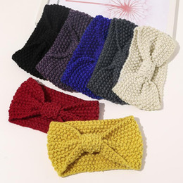 Discount winter head scarves women Autumn Winter Knitted Headbands Women Hair Accessories Retro Twisted Elastic Wide Hair Scarf Hairband Solid Head Band He