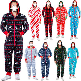 Wholesale onesies men resale online - New Autumn And Winter men Christmas home wear deer Snowman Stripe Print multi color large Hooded zipper men s Jumpsuit casual pajamas