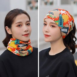 Discount female winter face mask 2020 Women Print Face Scarf Winter Spring Mask Female Bandana Hijab Warm Foulard Cotton Soft Neck Scarves Ring Wraps Cov