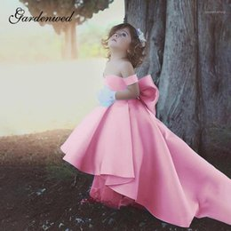 puffy baby girl dresses UK - Gardenwed Pure Satin Wedding Dresses Off Shoulder Scoop Baby Girl Princess Dresses A-Line Puffy Bow Ball Gown, Communion1