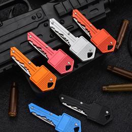 Key Shape Mini Folding Knife Fruit Knife Multifunctional Key Chain Knife Outdoor Saber Swiss Self-Defense Knives EDC Tool Gear LLS706 on Sale