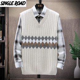 Wholesale argyle sweater men for sale - Group buy SingleRoad Mens Knitted Sweater Vest Men Winter Argyle Sleeveless Jumper Sweaters Harajuku Korean Style White Sweater Men