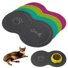 animals dishes 2020 - Cat Bowl Mat Dog Pet Feeding Water Food Dish Tray Wipe Clean Floor PVC Placemat Wipe Clean Pet Food Water Placemat Pad S
