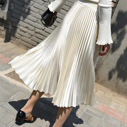 Wholesale longer skirts for sale - Group buy Spring Women Chic Skirts Long Midi A Line Pleated Skirt Woman Plus Size Skirt High Waist Midi Faldas Mujer Verano