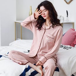 cotton pyjamas for women Australia - 100% Cotton Pajamas for Women Korean PJ Full Sleeves Pijama Feminino Button-Down Winter Sleepwear Ladies Pink Pyjama Femme Hiver 201031