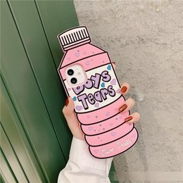 apple shaped bottle NZ - Mineral Water Bottle Shape Silicone Funny Boys Tear Heart Cell Phone Case for iphone 11 pro 6 6s 7 8 plus xs max xr xs
