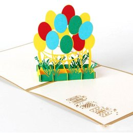 happy birthday laser cut paper NZ - Hot sale 3D Laser Cut Handmade Kids Children Happy Birthday Party Balloon Paper Invitation Greeting Cards Business Postcard