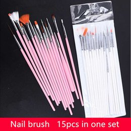 15 Stks Professionele Gel Nail Borstels 15 Maten Nail Art Acrylic Brush Pennen Houten Handvat Dagtekening Paint Borstel Set