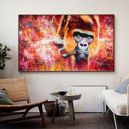 домашний декор Горилла арт//холст печать плакат стена искусства
