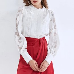 Wholesale button up shirts resale online - The latest European and American style stand up collar lantern sleeve single breasted loose lace long sleeved shirt