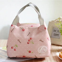 designer cooler bags Australia - Storage Bags Portable Lunch Bag Tote Pink Cherry Insulated Cooler Zipper Organizer Box Oxford Fabric Outdoor Picnic