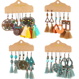 big ethnic jewelry Australia - Vintage Big Round Multicolor Beaded Earrings Set for Woman Ethnic Boho Tassel Feather Long Dreamcatcher Drop Earrings Jewelry