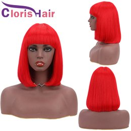 red hair color black women 2021 - Red Human Hair Bob Wig Pixie Cut Malaysian Remy Straight Non Lace Wigs With Bangs For Black Women 150% Red Colored Glueless Short Bob Wig