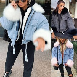 Wholesale jacket demin for sale - Group buy Fleece Demin Jackets Womens Lapel Neck Loose Drawstring Parkas Autumn Winter Casual Zipper Women Denim Coats