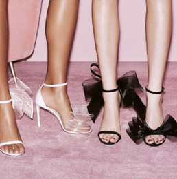 Wholesale White Black Women Sandals 2021 Fashion Big Bow Mesh High Heel Women Shoes Sexy Open Toe Bridal Wedding Shoes Evening Party Sandals AL7920