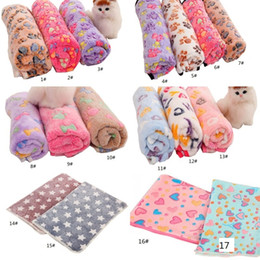 Wholesale dog paws prints resale online - Pets Winter Blanket Floral Pet Sleep Warm Paw Print Towel Dog Puppy Fleece Soft Dog Blanket Multi size EEF3950