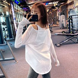 loose off shoulder shirts Canada - Sportswear women's quick dry off shoulder running leisure long sleeve T-shirt thin gym loose Yoga suit