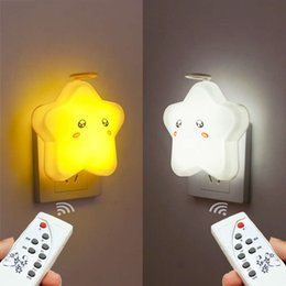 plug night light baby UK - Remote control plug-in LED bedside Night Light baby sleep feeding eye care Bedroom Table Lamp