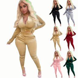 Wholesale velour tracksuits for sale - Group buy Velvet Tracksuit Women Two iece Set Spring Autumn Clothes Long Sleeve Zipper Crop Top And Pants Velour Workout Casual Suit Ropa