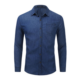 camisa de mezclilla de los hombres al por mayor-Hombres Botón Denim Camisa Denim Fit Drilight Manga Larga Black Blue Blue Casual Shirts Camisetas Chaqueta Abrigo Tops EUR Tamaño FM4001