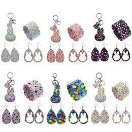 Wholesale 4pcs Easter PU Leather Jewelry Set Earrings Bracelet and Keychain With Rabbit Shape and Pattern For Girls Gift