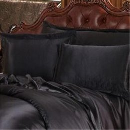 Wholesale-Black Luxury Bedding Sets Solid Silk Satin 4 Pcs Queen King Size Home Textile Bed Linen Duvet Cover Set Bed Sheet 711 K2 on Sale