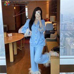 Edglulu Lionde Blue Turn-Down Collar Camicia manica lunga + Pantaloni Pantaloni Pantaloni Pigiama Set Donne Primavera Autunno Vestito Nero Bianco 0303 210831 in Offerta