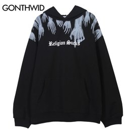 Discount religion hoodie GONTHWID Hands Religion Sucks Print Fleece Hooded Sweatshirts Hoodies Hip Hop Punk Rock Streetwear Casual Tops Hipster Hoodie Y201001