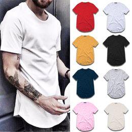 Heren t-shirt mode extended straat stilet-shirt herenkleding gebogen zoom lange lijn tops tees hiphop stedelijke lege basic t-shirts TX135
